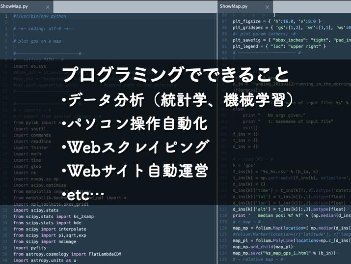 pythonのコードを背景にプログラミングでてきることを列挙